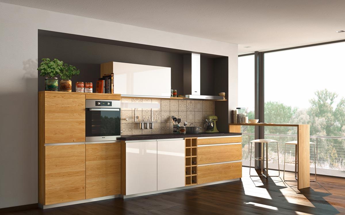 Küchenzeile in Holz und weißen Hochglanzfronten