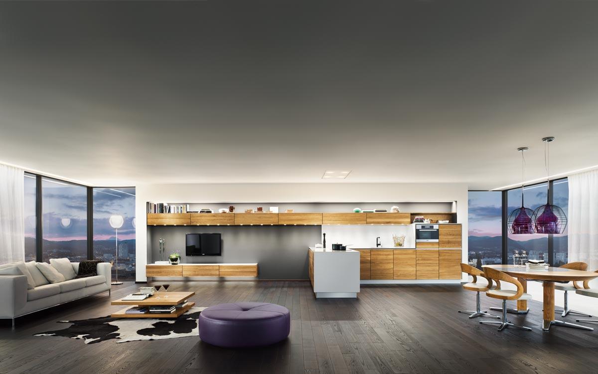 Küchen-Wohnzimmer-Esszimmer Kombination