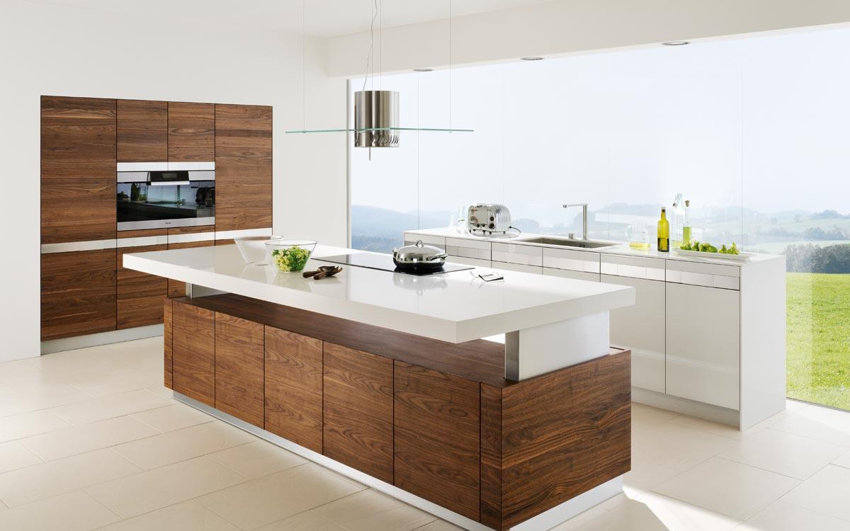 Küche mit Fronten in dunklem Holz und Hochglanz