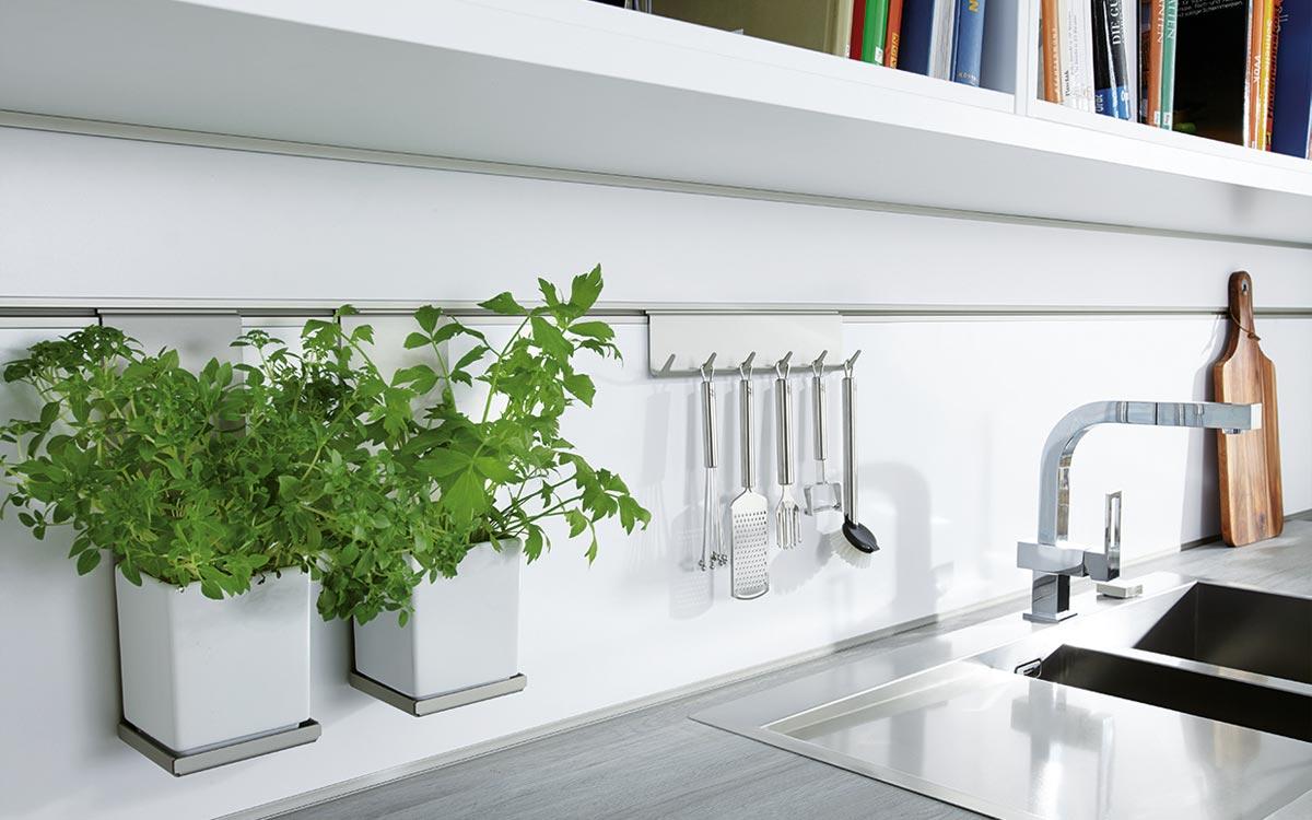 Küche mit weißen Fronten und Holzelementen
