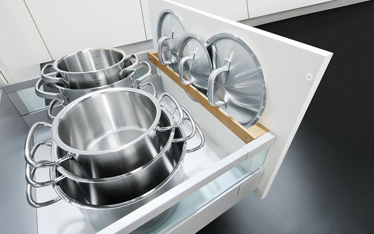 Küchen-Unterschrank-Schublade mit Topfdeckelhalter